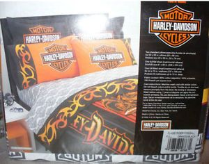 Harley Davidson Motor Cycle Full Sheets Set New Flaming Harley Sheets