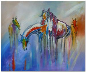 50x60cm Hand Painted Modern Abstract Horse Portrait Oil Painting Canvas Art