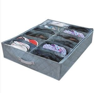 New Bamboo Fiber Under Bed Closet 12 Shoes Box Storage Organizer Case Holder