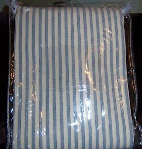 Pottery Barn Vintage Ticking Stripe Shower Curtain Blue New