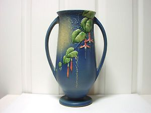 Beautiful Vintage Roseville Pottery Blue Fuschia 903 12 Tall Vase