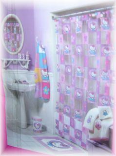 Hello Kitty Cat Heart Bath Vinyl PVC Shower Curtain Brand New