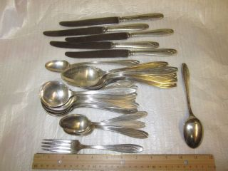 Vtg 1847 Rogers Bros Silver Plated Estate Silverware Engraved Eleanor III 27 PC