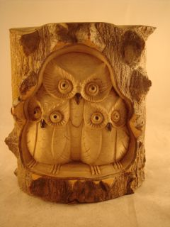 "6"" Bali Wood Carving Croc Wood Sculpture Owl Statue Art"