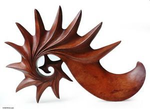 Nautilus Vision Artisan Hand Carved Wood Abstract Original Wall Art Sculpture