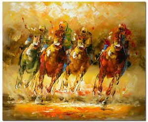 Signed Modern Abstract Palette Knife Oil Painting 50x60cm Art Horse Racing Polo