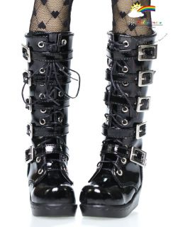 SD Dollfie Shoes Emo Buckles Lace Up Boots Patent Black