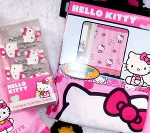 Hello Kitty Fabric Pink Shower Curtain 12 Shower Hooks Set Brand New