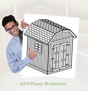 8x8 Gambrel Storage Shed 26 Backyard Shed Plans DIY Adv Plans Wood Sheds
