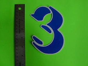 Vintage Bike Bicycle Old School Number Sticker Number Plate 3D Style 3 Blue
