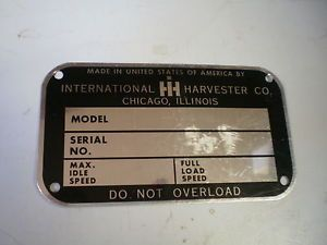 IH International Farmall Tractor Blank Serial Number Plate