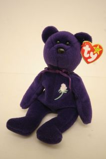 Ty Princess Diana Bear Beanie Baby 1st Edition PVC Pellets No Number Space China