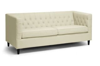 New Modern Cream Button Tufted Leather Sofa Contemporary Style