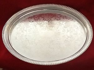 "Rogers 16"" Oval 1"" Deep Silver Plate Tray 880G ""Buy Now Serve with Style"""