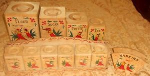 12pcs Vtg Hand Painted Wood Ware Canister Spice Rack Set Napkin Holder Rooster