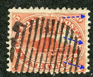VG F Used 5¢ 1859 Cents Issue 15 with Nice re Entry in Right Oval and Frameline
