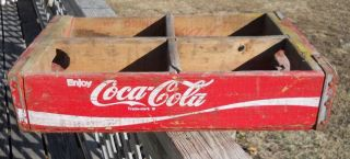 Vintage Red Swirl Coca Cola Coke Wooden Bottle Carrier Caddie Case Tray Crate