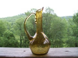 Vintage Handmade Blown Art Glass Pitcher Bud Vase Amber Gold Rough Pontil OOAK