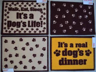 Pet Dog Cat Food Mat Non Slip Backing Machine Washable Bowl Nice Prints Cute