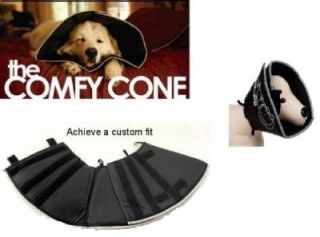 Size XL Dog Cat The Comfy Cone Pet Recovery Neck Collar Adjustable Black