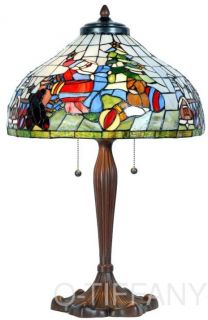 Tiffany Style Stained Glass Table Lamp Visit from Santa