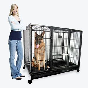 """43"""" Dog Kennel w Wheels Portable Pet Puppy Carrier Crate Cage Heavy Duty Metal"""