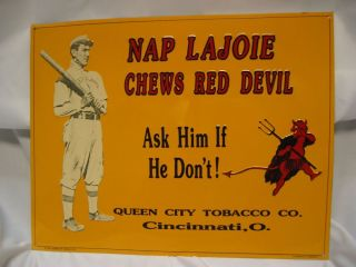 Vintage Nap Lajoie Chews Red Devil Tobacco Sign
