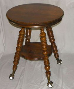 Antique Round Oak Lamp Table Claw Ball Feet