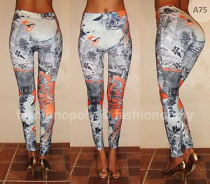 Womens Leggings Printed Pattern Rose Fashion Funky Graffiti Art Disco Pants A75