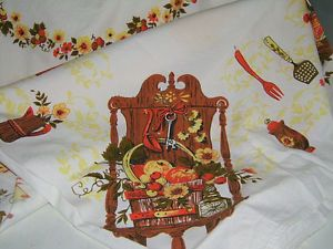 Vintage Country Table Cloth Linen Autumn Colors Nice