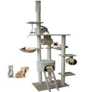 "New 94"" 102"" Beige Adjustable Cat Tree Condo Furniture Scratch Post Pet House"
