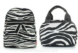 Zebra Black Matching School Quilted Backpack Lunchbag Lunch Box Lunchbox Bag