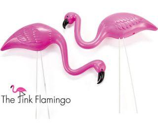 2 Pink Flamingo Yard Ornaments Decorating Mini Flocking Classic Decoration