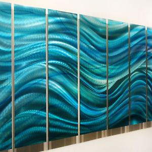 "Large Modern Abstract Metal Wall Art Decor Painting Blue ""Calm Before The Storm"""