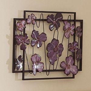 """3D Purple Floral Flower Abstract Metal Wall Art Sculpture Decor 24""""x18"""" New"""