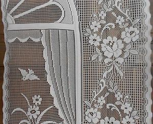 Arch Window Garden Scene Lace Curtain Panel French Drape Motif Window Treatment