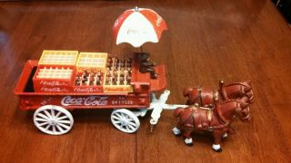 Vintage Coca Cola Cast Iron Horse Drawn Wagon with Mini Coke Crates Bottles