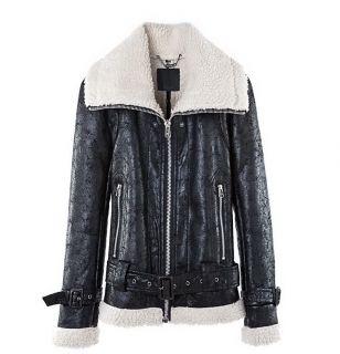 Military Aviator Shearling Double Collar Black Split Leather Coat Jacket Fur