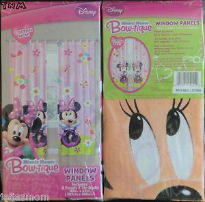 ♦♥♦disney Minnie Mouse Bow tique Window Drapes Curtains Panels Tie Backs♦♥♦
