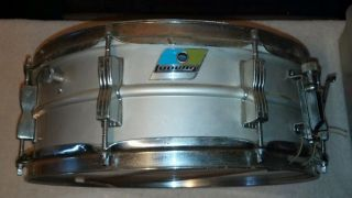 "Ludwig Vintage Chrome 14"" x 5"" Snare Drum Blue Green Badge Weathermaster"