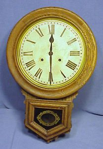 Antique Ansonia Clock Co Round Face Wall Clock