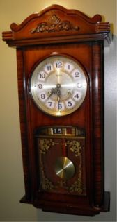 Vintage Miba 31 Day Chime Key Wind Wall Clock Made in Korea Pendulum Keeps Time