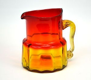 Blenko Jonquil Optic Amberina Glass Water Pitcher Jug Mid Century Modern