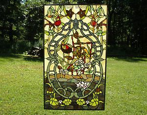 "20"" x 34"" Large Tiffany Style Stained Glass Window Panel Water Lily Lotus"