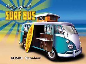 Surf Bus Metal Sign Classic Beach camper Van Beach Garage Den Retro Decor