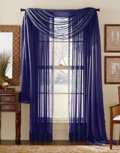 "Elegance Royal Blue Sheer Valance Scarf Window Treatment Covering 216"" Long New"