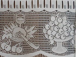Wine Cheese and Grapes Lace Curtains Small French Drape Motif Window Treatment