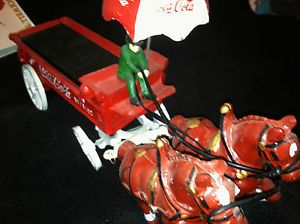 Coca Cola Cast Iron Horse Drawn Wagon Driver Crates and Bottles