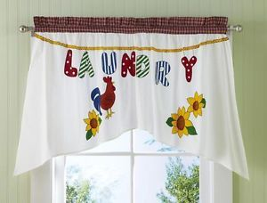 """Country Rooster Patchwork Style """"Laundry"""" Room Valance Window Treatment"""