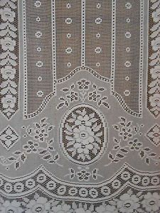 Pair Rose Drops Floral Long French Lace Curtains Lace Panels Window Treatment